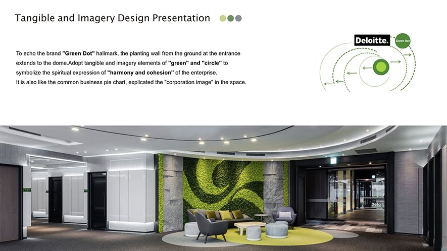 (圖)設計師以品牌名稱結尾的綠點(Green Dot)發想空間概念,於場域中置入...