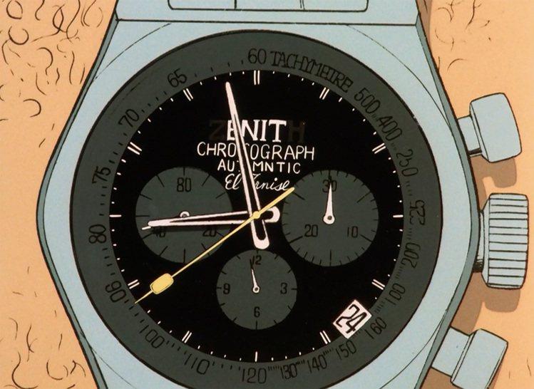 曾在「魯邦三世」首部電視版的第一集中兩度出現的真力時腕表。圖/Zenith提供