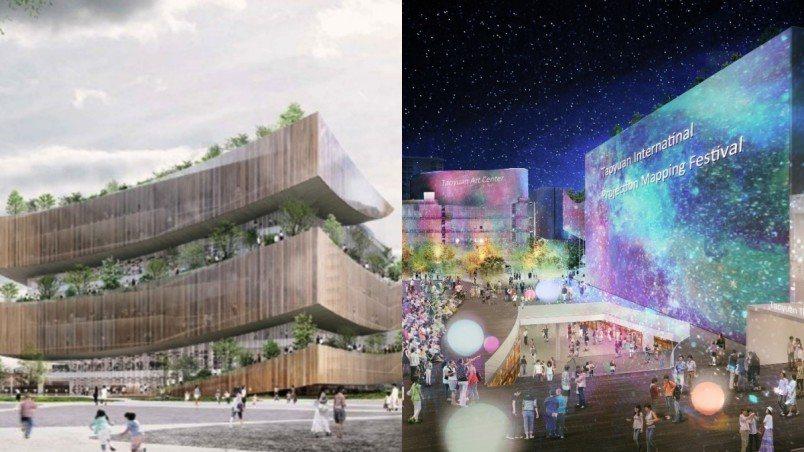 桃園市立圖書館新建總館即將挑戰「全台最美圖書館」稱號。圖/桃園市政府新建工程處