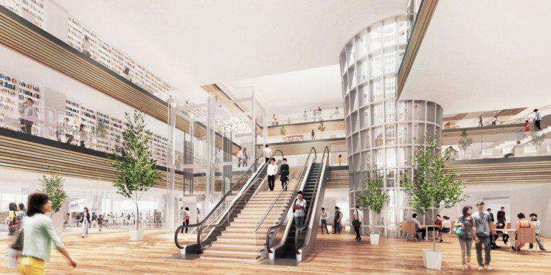 桃園市立圖書館新建總館大廳模擬圖。圖/桃園市政府新建工程處