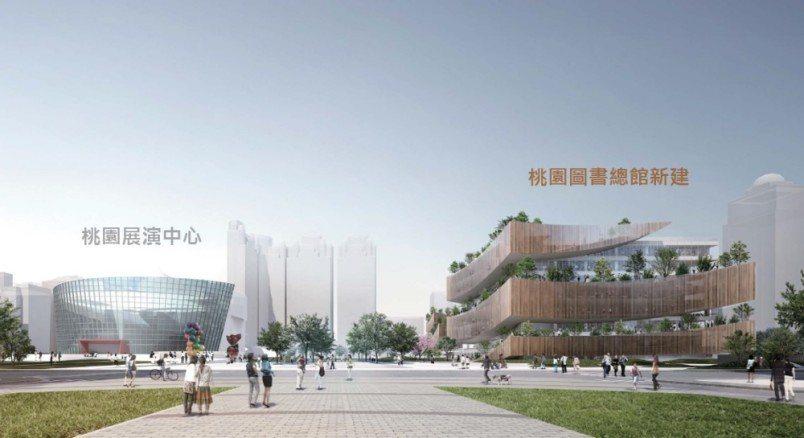 桃園市立圖書館新建總館分為圖書館棟、電影院棟。圖/桃園市政府新建工程處