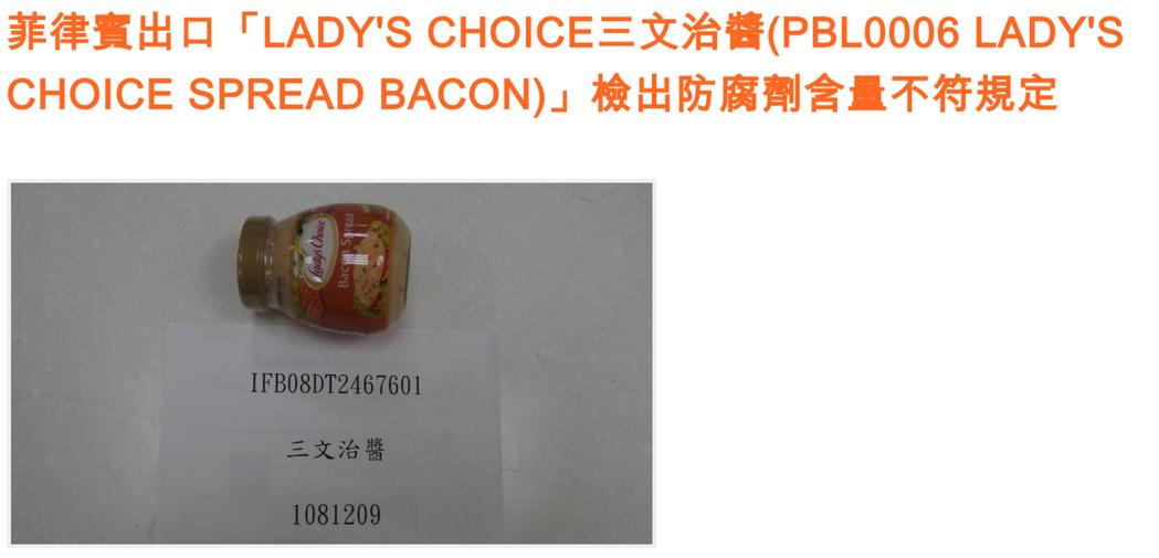 三明治醬被驗出防腐劑超標,已全數退運或銷毀。圖/食藥署提供