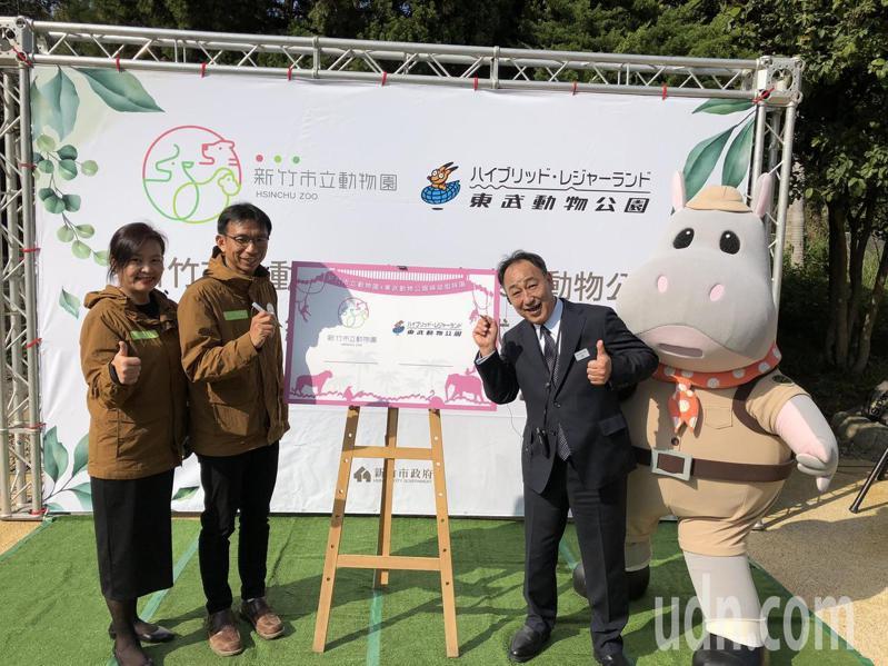 新竹市立動物園於去年底重新開園,今天與日本東武動物公園日取締役社長伴光雄簽署合約,正式締結為姊妹園。記者王駿杰/攝影