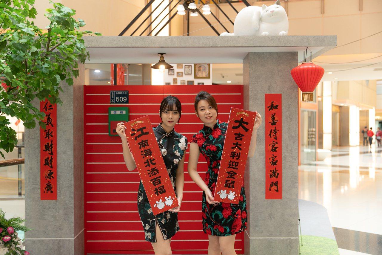 大江購物中心打造天燈、懷舊主題打卡裝置迎接春節。圖/大江購物中心提供
