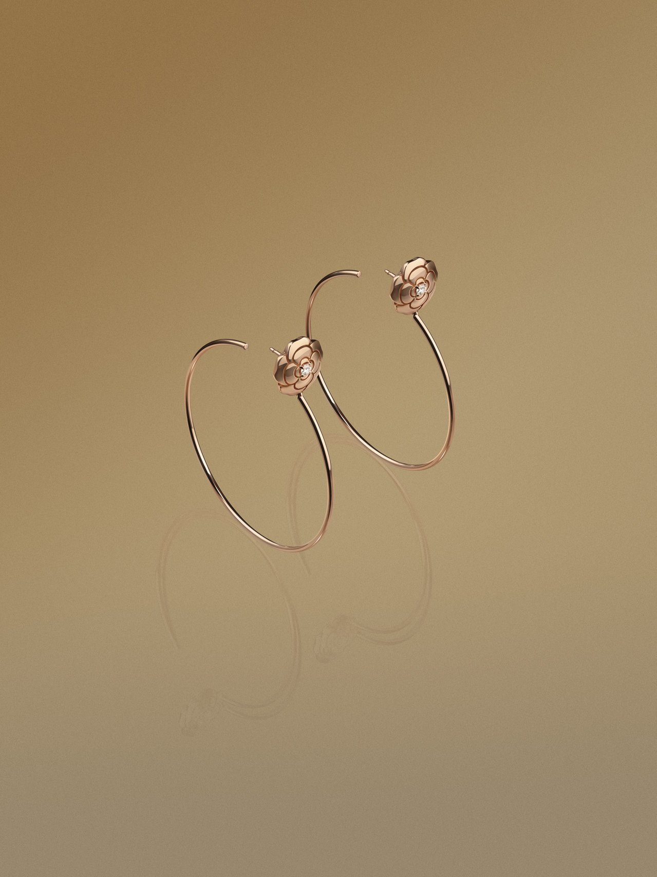 CHANEL,Extrait de Camélia耳環,18K粉紅金鑲嵌鑽石,1...
