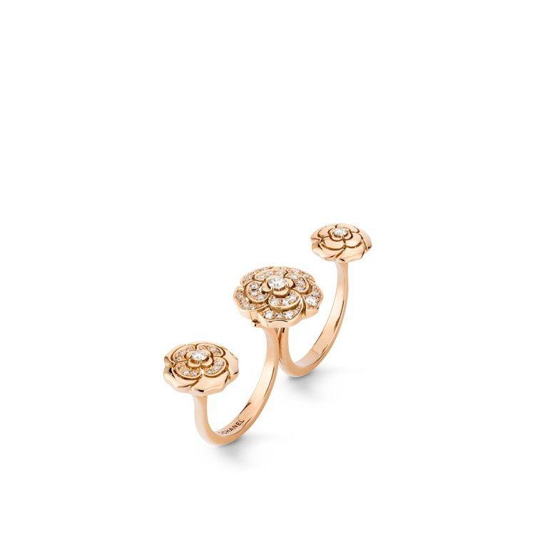 CHANEL,Extrait de Camélia指間戒,18K粉紅金鑲嵌鑽石,...