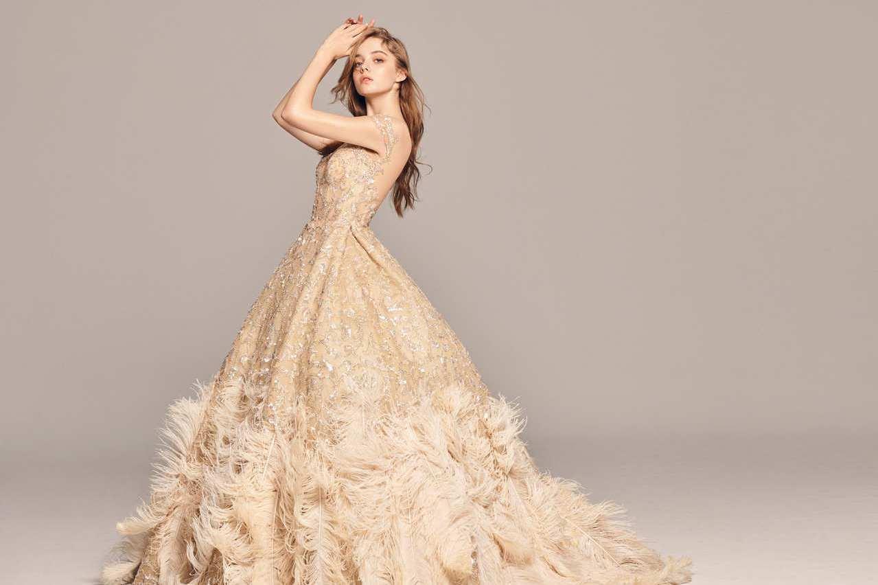 林志玲帶起羽毛婚紗熱 LinLi Boutique白金系列好仙