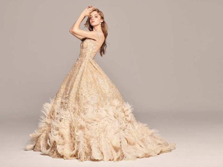 2020春夏白金系列復古宮廷式鉑金羽禮服。圖/LinLi Boutique提供