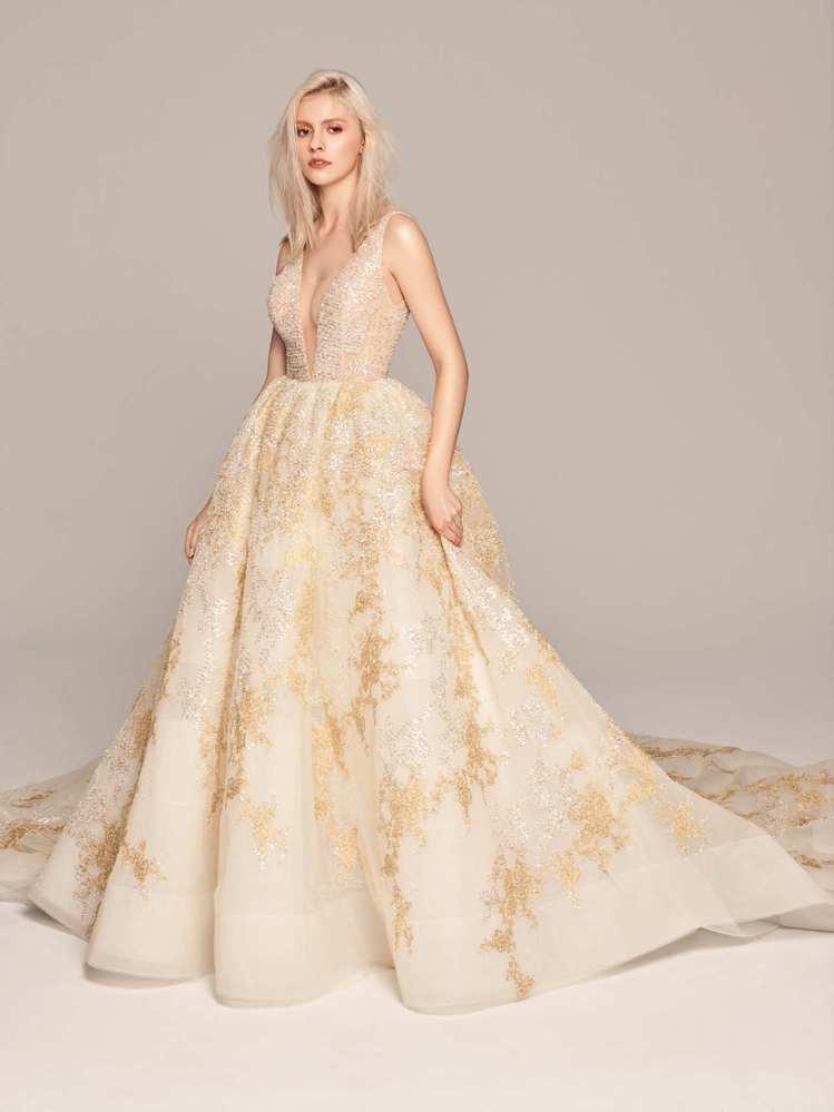 2020春夏白金系列7呎金銀蕾絲白紗。圖/LinLi Boutique提供