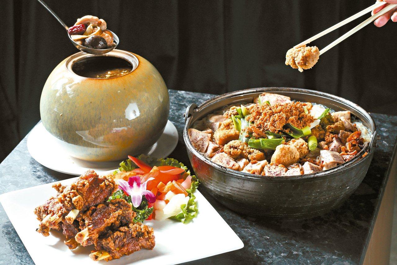 排骨酥(左前)、土魠魚米粉鍋(右)、金蓬萊佛跳牆(左後)。 圖/聯合報系資料照片