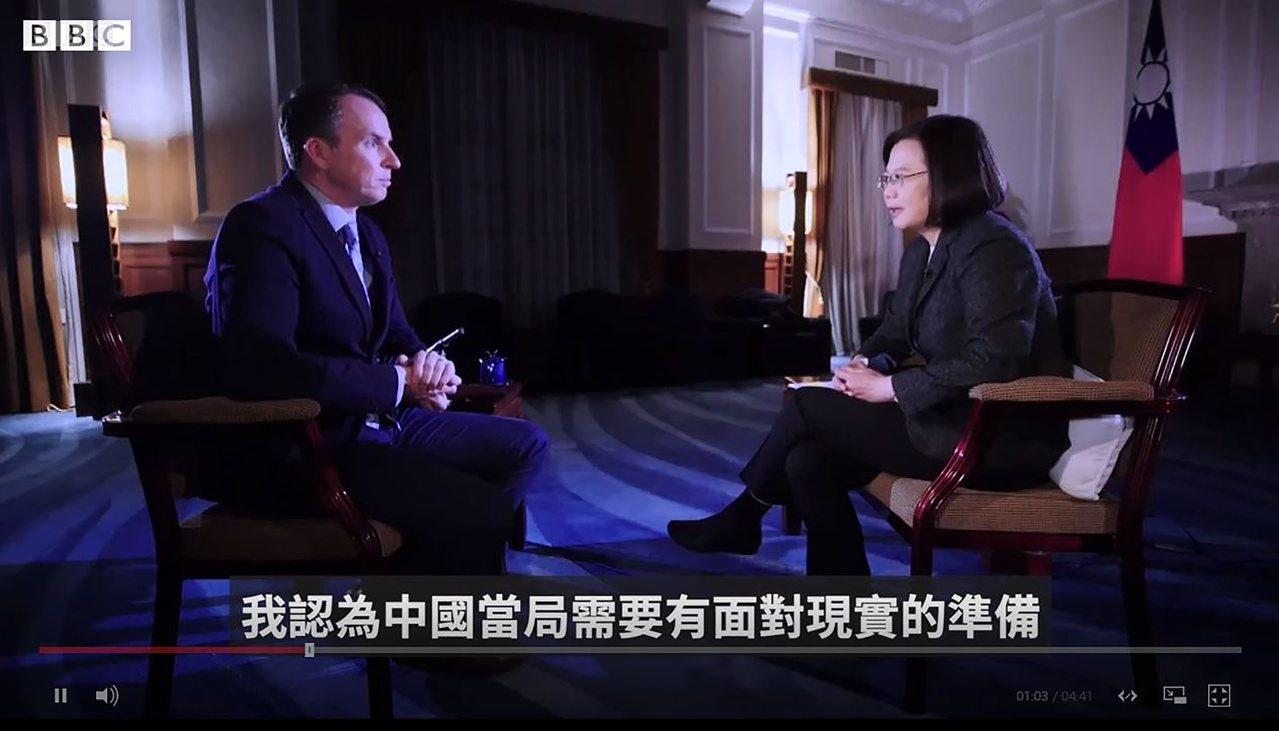 英國廣播公司(BBC)網站今天刊登蔡英文總統專訪,蔡總統呼籲中國大陸面對事實,尊...