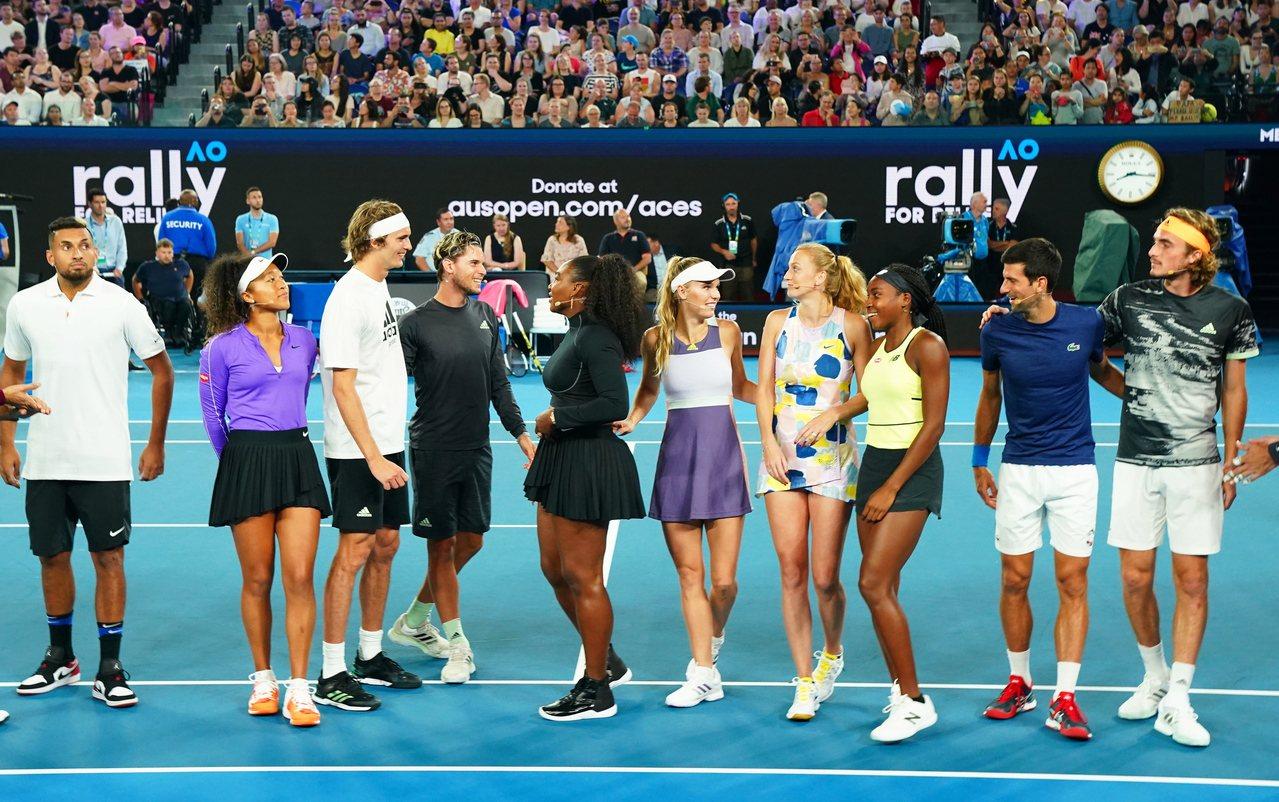 網球球星參加澳網慈善賽募款助野火重建。 歐新社