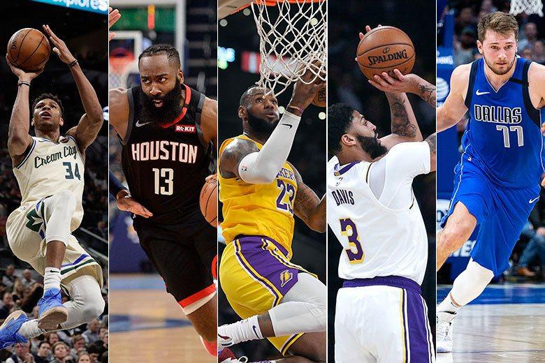 安戴托昆波、哈登、詹姆斯、戴維斯、唐西奇(由左自右)是目前年度MVP的5大熱門人...