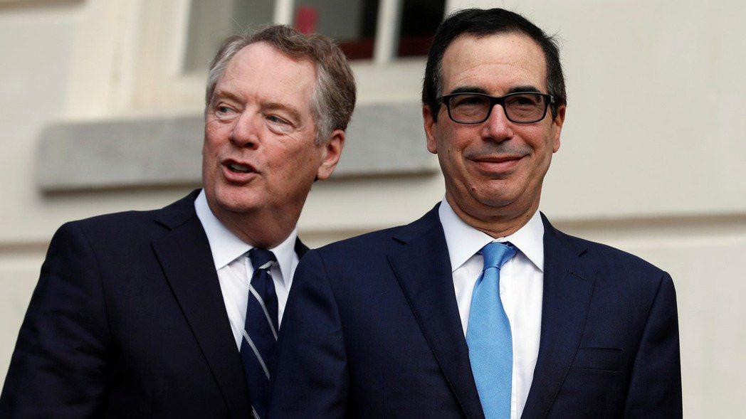 美財長米努勤(右)和貿易代表賴海哲表示,美國與中國大陸並未就未來降低關稅達成協議...
