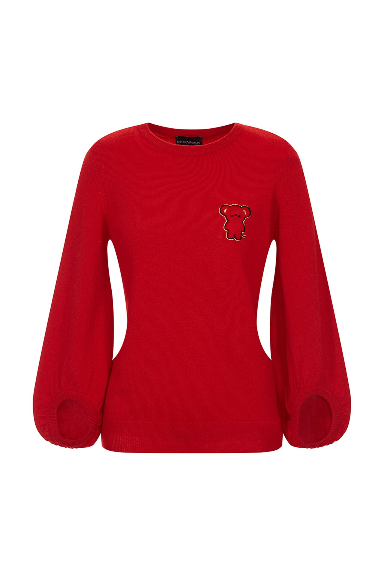 Emporio Armani新年系列紅色鐘型袖針織衫。圖/嘉裕提供