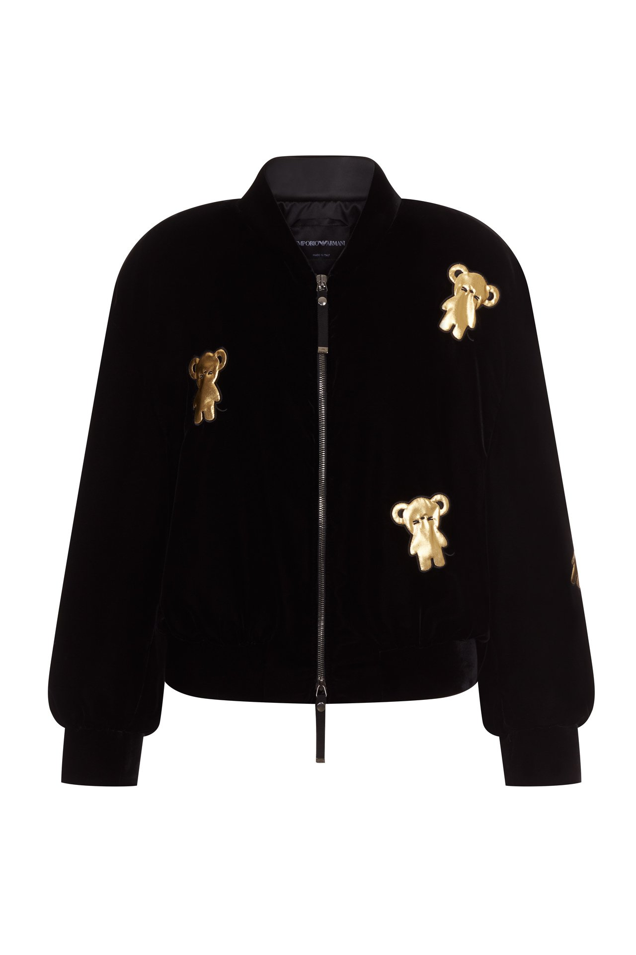 Emporio Armani新年系列黑色休閒外套裝飾金色老鼠圖騰。圖/嘉裕提供