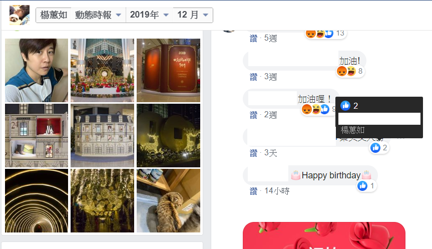 「卡神」楊蕙如被台北地檢署起訴後被銷聲匿跡,但近日又現身個人臉書,在「蔡英文大勝」的留言中悄悄按了讚。圖/翻攝自楊蕙如臉書