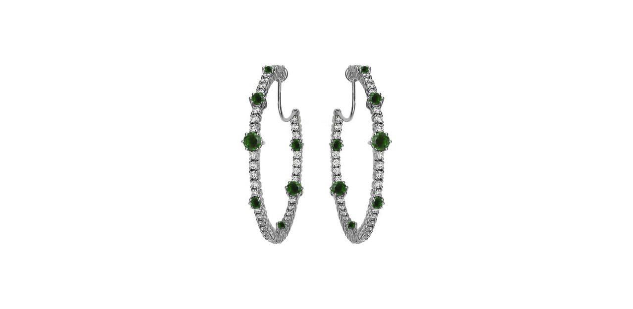 蕭邦,LHeure du Diamant系列的18K白金環型耳環,鑲有鑽石和祖母...