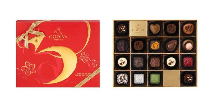 GODIVA新年巧克力禮盒18顆裝,售價2,300元。圖/GODIVA提供