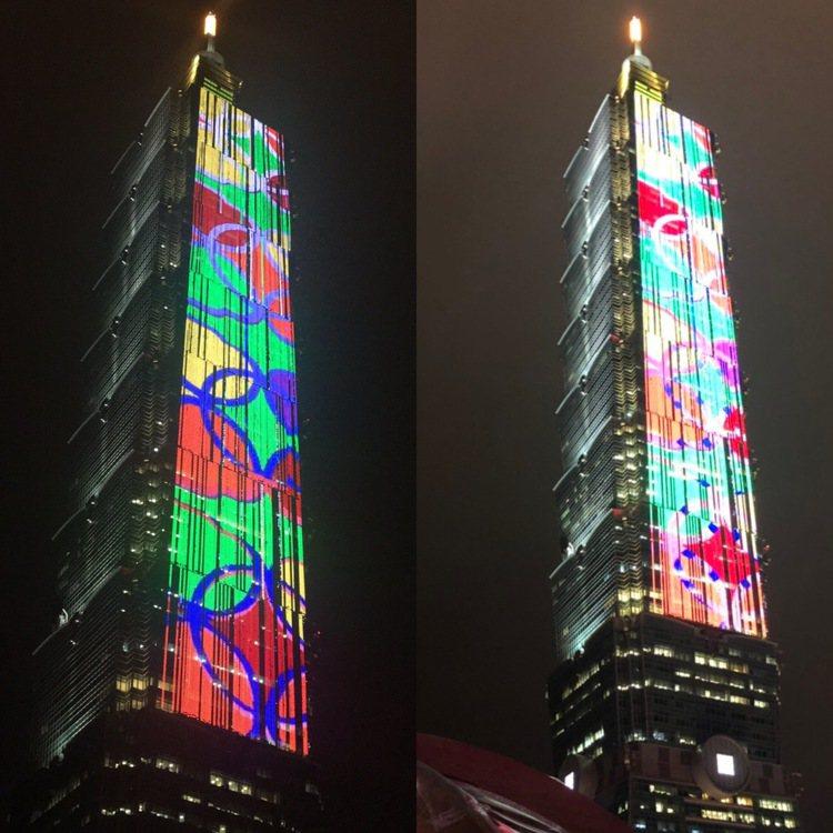 台北101打造新春藝術,透過T-Pad燈網,大樓呈現傳統窗花設計。圖/台北101...