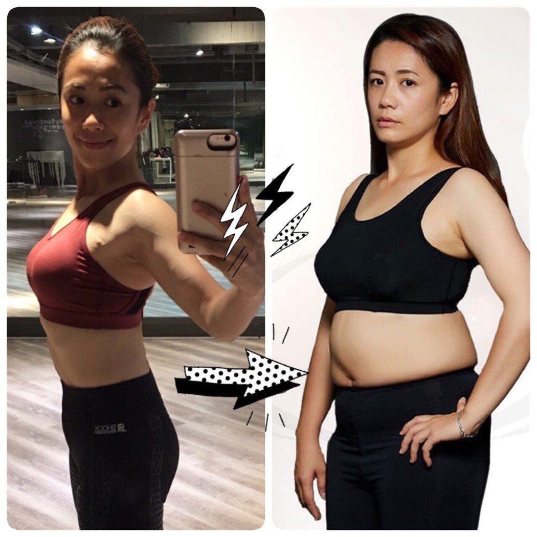 柯以柔從去年5月開始瘦身至今的變化,前後差了10公斤。圖/柯以柔提供