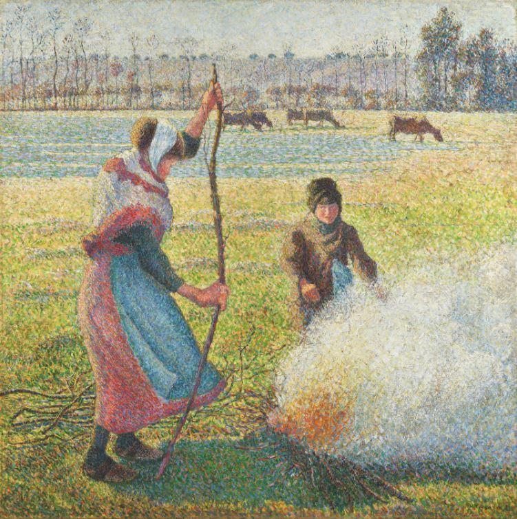 「霜降,農家少女在生火」,出自印象派名家、卡米耶畢沙羅(Camille Pissarro)之手。圖╱蘇富比提供。