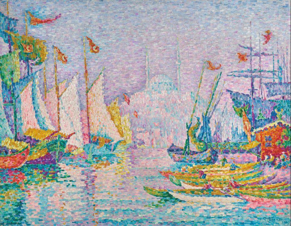 保羅・席涅克(PAUL SIGNAC)的《金角灣,早晨》(1907年),畫面空靈...