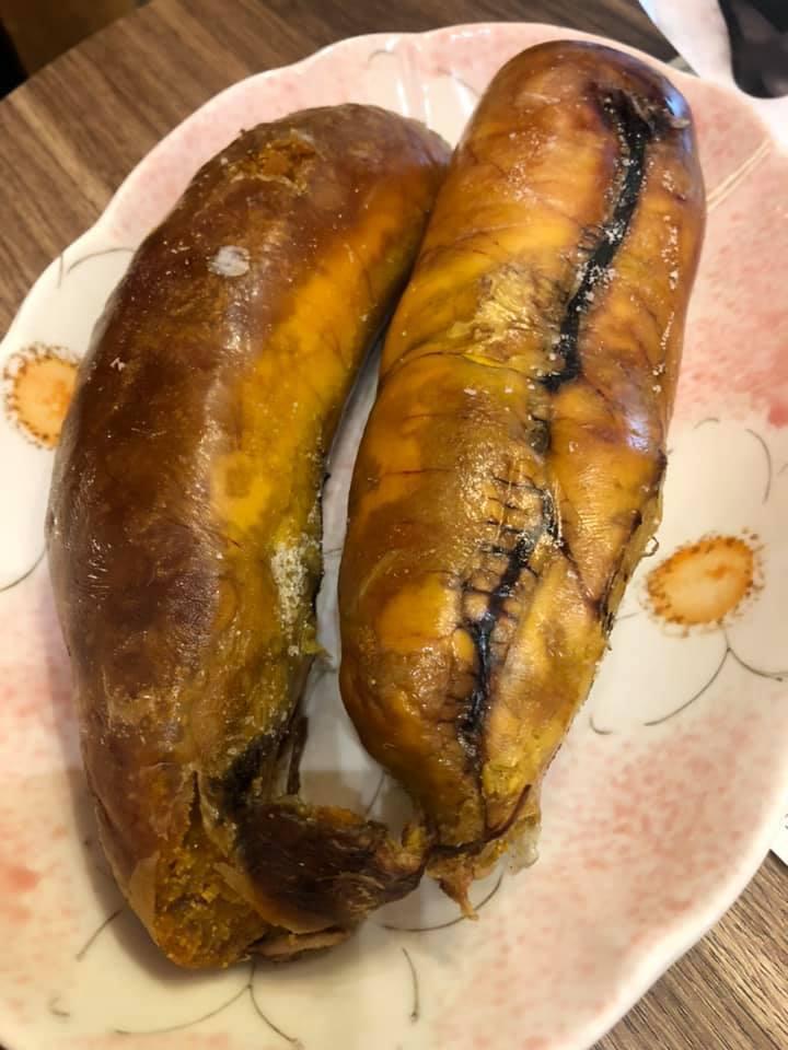 網友分享用氣炸鍋加熱烏魚子的成果。 圖片來源/爆廢公社