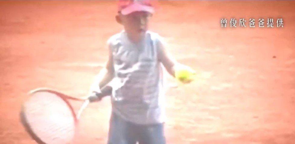 曾俊欣5歲開始接觸網球。 曾俊欣父親/提供