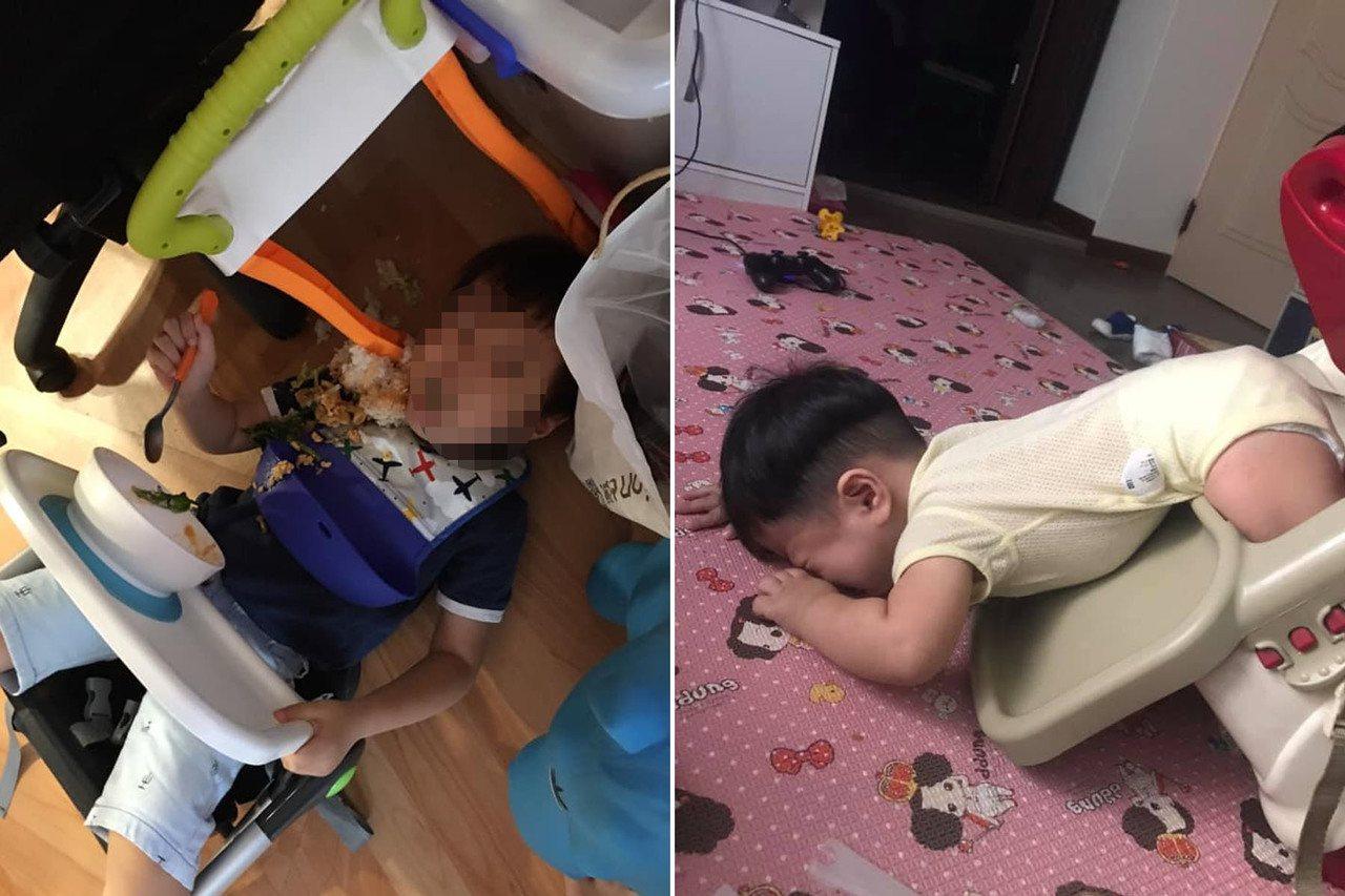 網友貼出小孩玩到餐椅翻倒照。 圖/翻攝自爆笑公社