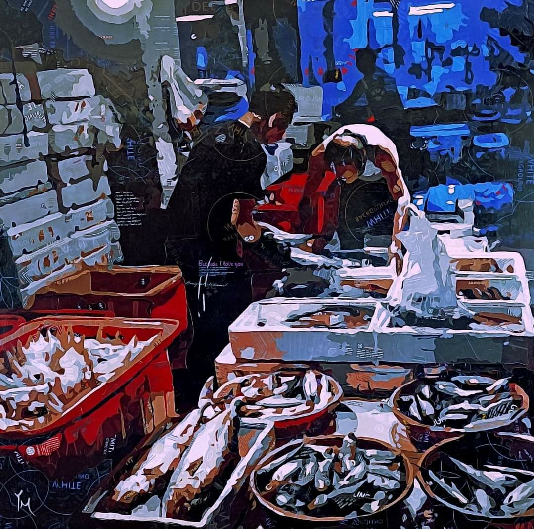 拼貼藝術家梁艷媚的作品「魚棧」,拿下去年基隆美展西方媒材類最高榮譽「基隆獎」。 ...