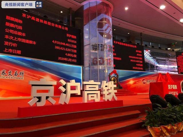 京滬高鐵今(16)日在上交所上市,A股市場正式迎來高鐵第一股。取自央視新聞客戶端