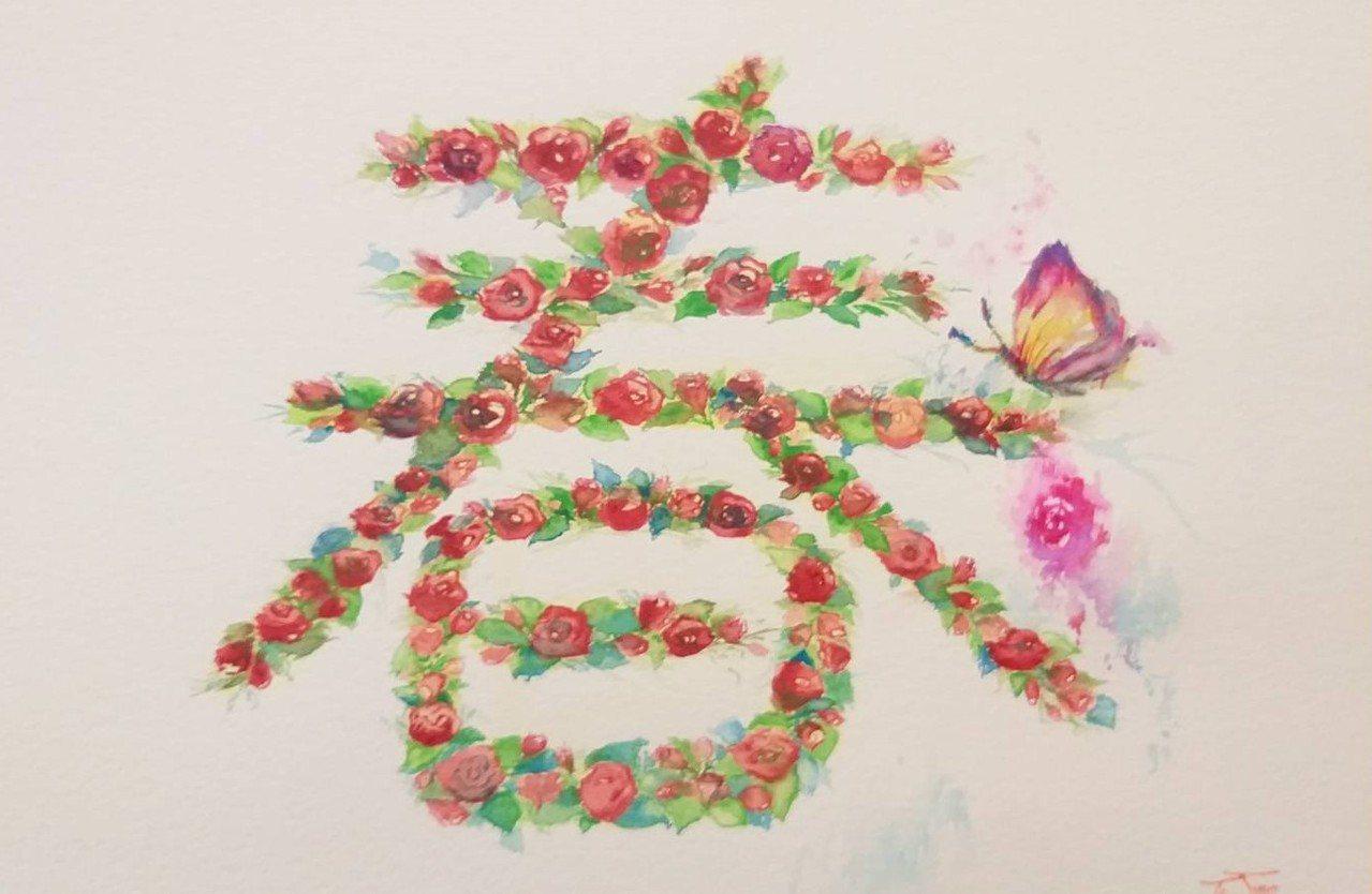 基隆市口足畫家林婷婷創作「春意盎然」,許下新年新希望是好好調養身體,未來能坐著畫...