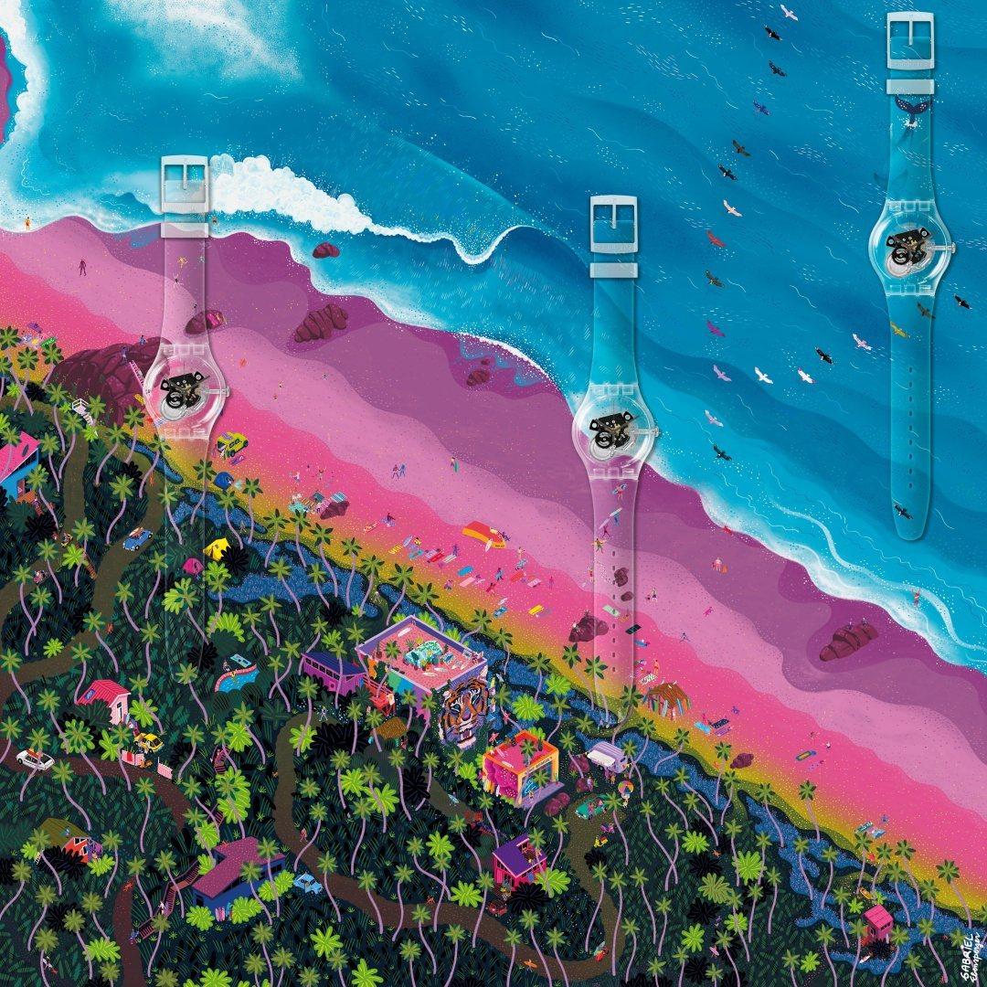 「Swatch XYou」訂製系列中首度結合運動、藝術的獨特畫布。(圖/Swat...
