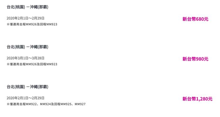 優惠票價中最低的為台北飛往沖繩,單程未稅680元起。圖/摘自樂桃航空官網
