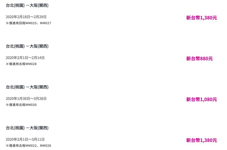 有多個日本航點祭出優惠票價。圖/摘自樂桃航空官網