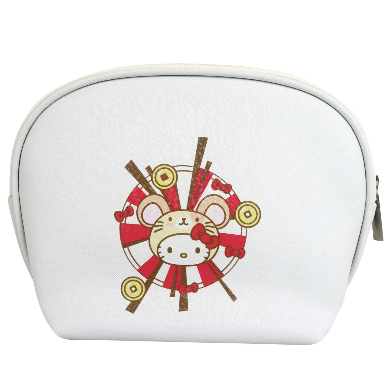 7-ELEVEN「Hello Kitty金鼠年限定萬用包」白色款背面。圖/7-E...