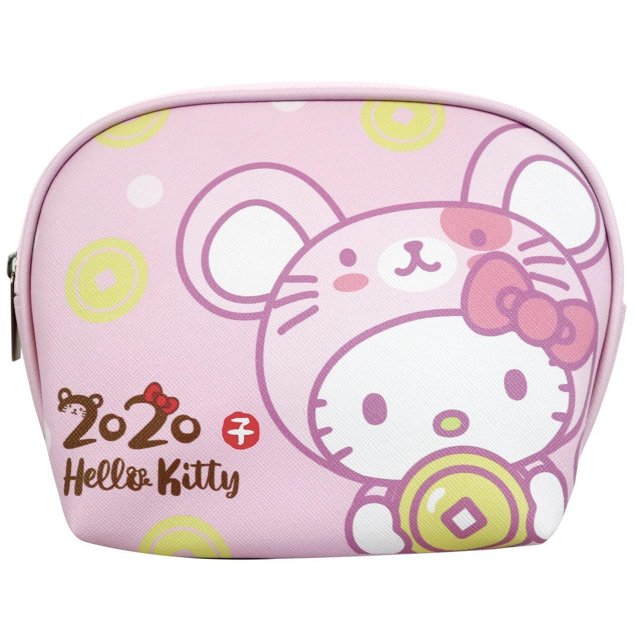 7-ELEVEN「Hello Kitty金鼠年限定萬用包」粉色款正面。圖/7-E...