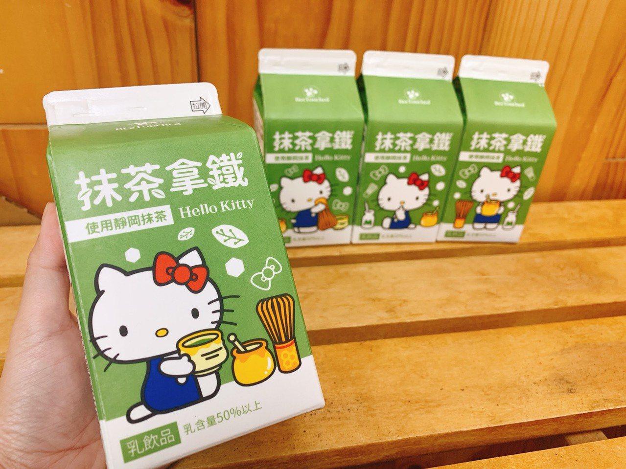 7-ELEVEN推出Hello Kitty包裝的蜜蜂工坊抹茶拿鐵,售價35元,1...