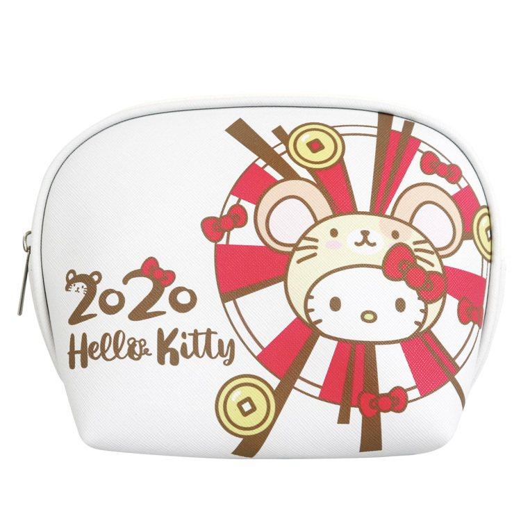 7-ELEVEN「Hello Kitty金鼠年限定萬用包」白色款正面。圖/7-E...