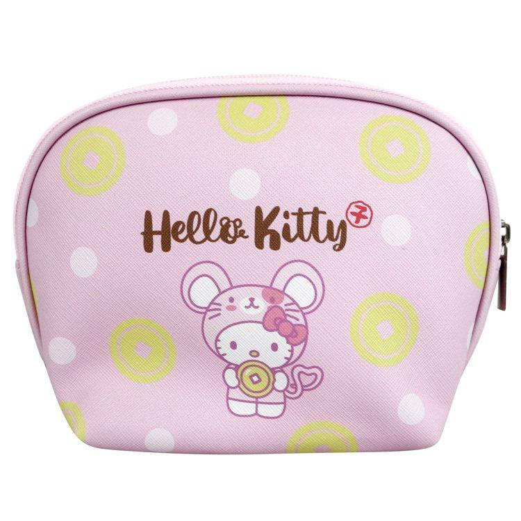 7-ELEVEN「Hello Kitty金鼠年限定萬用包」粉色款背面。圖/7-E...