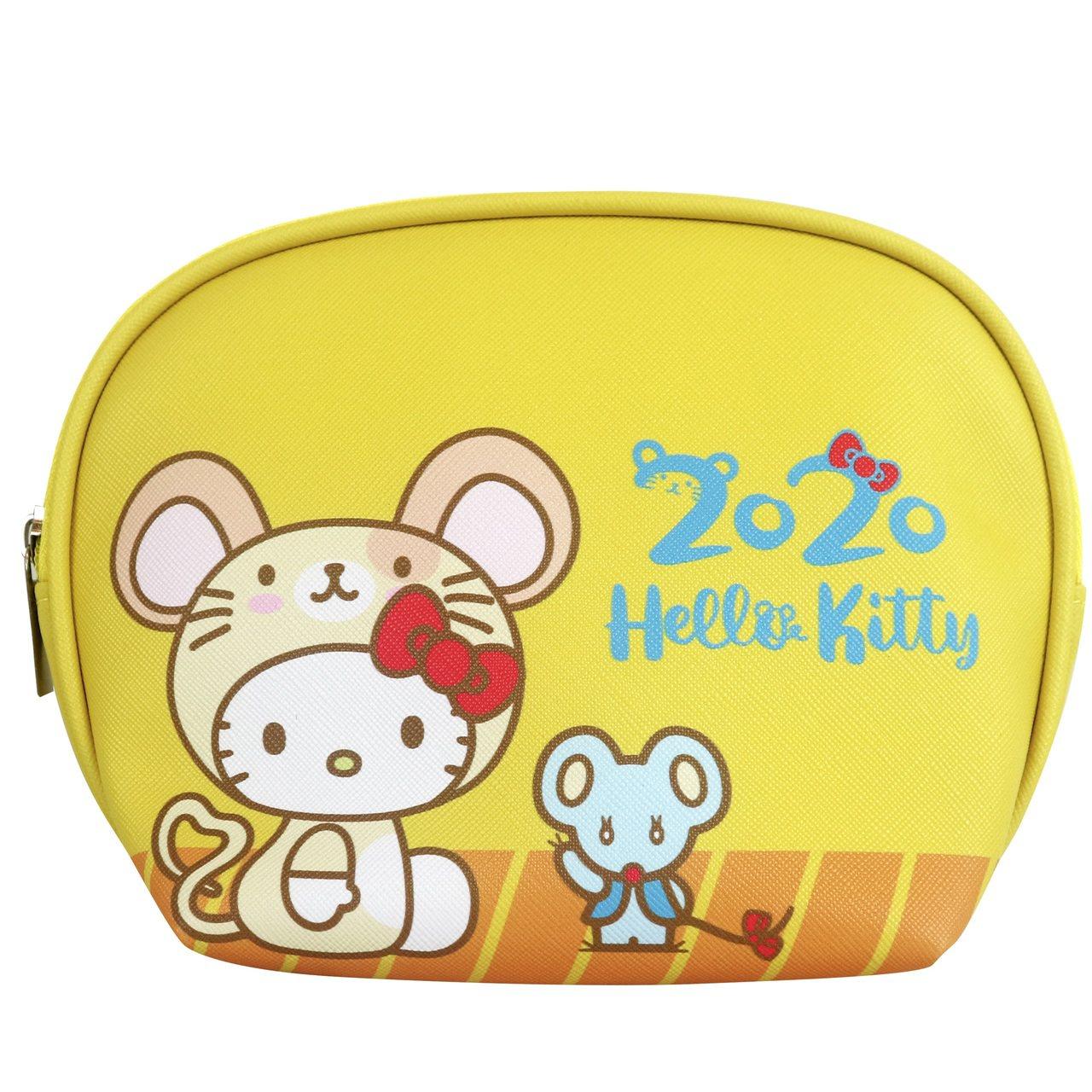 7-ELEVEN「Hello Kitty金鼠年限定萬用包」黃色款正面。圖/7-E...