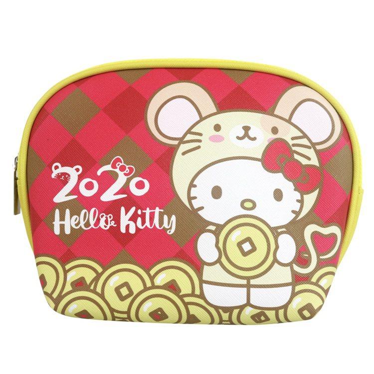 7-ELEVEN「Hello Kitty金鼠年限定萬用包」格紋款正面。圖/7-E...