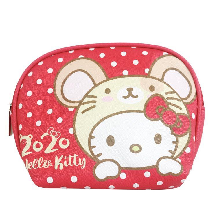 7-ELEVEN「Hello Kitty金鼠年限定萬用包」點點款正面。圖/7-E...