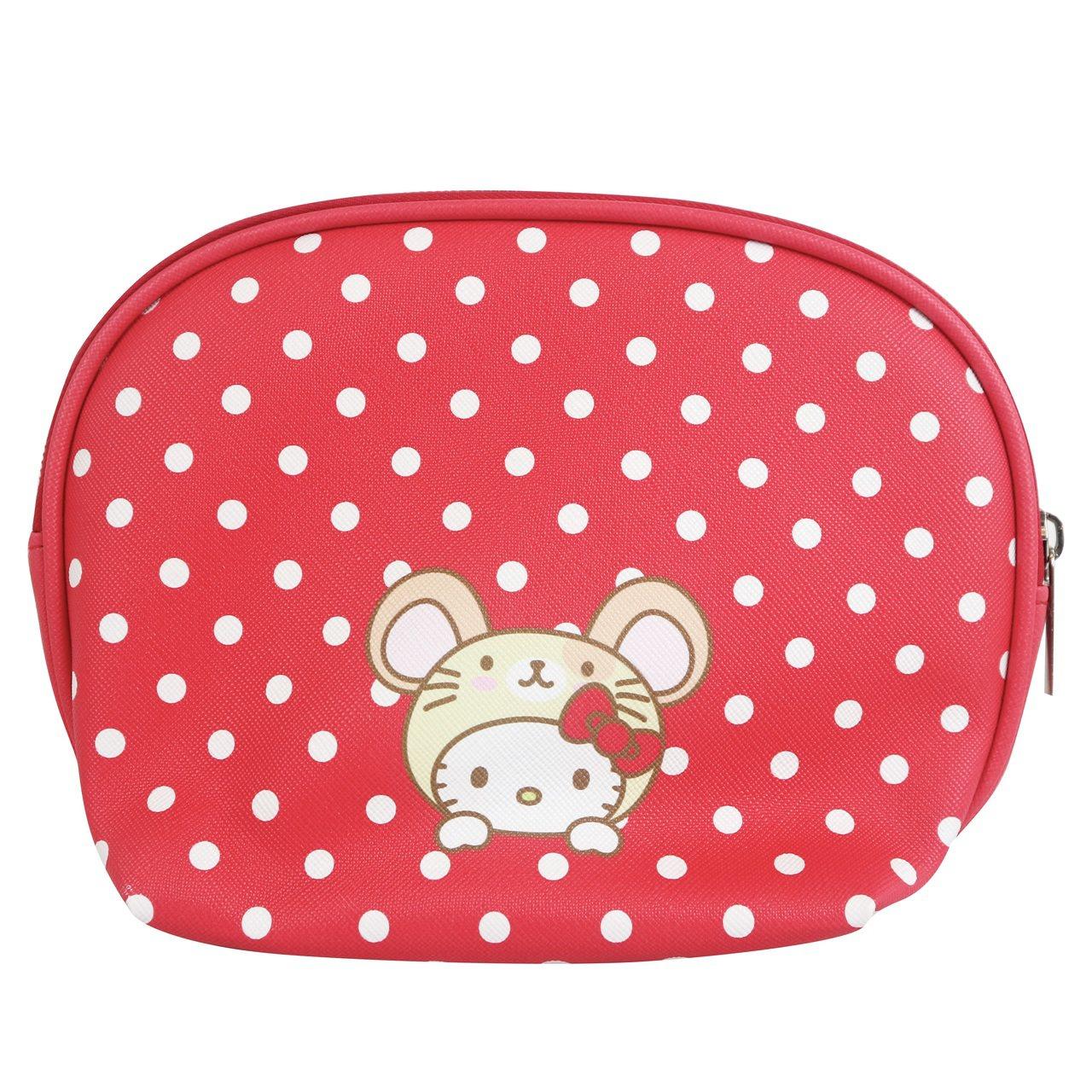 7-ELEVEN「Hello Kitty金鼠年限定萬用包」點點款背面。圖/7-E...