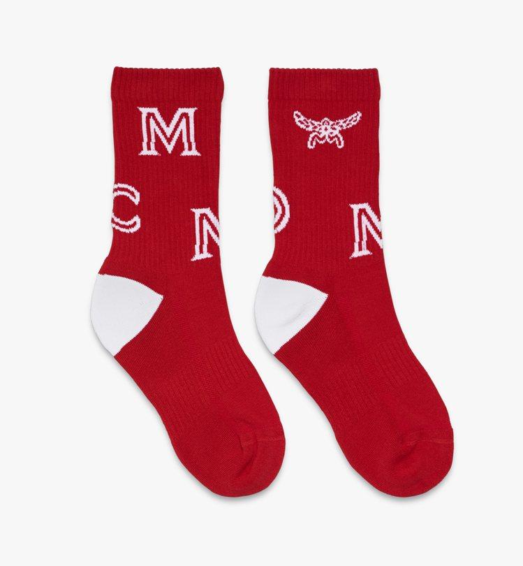 MCM_字母Logo紅色長襪,售價3,000元。圖/MCM提供