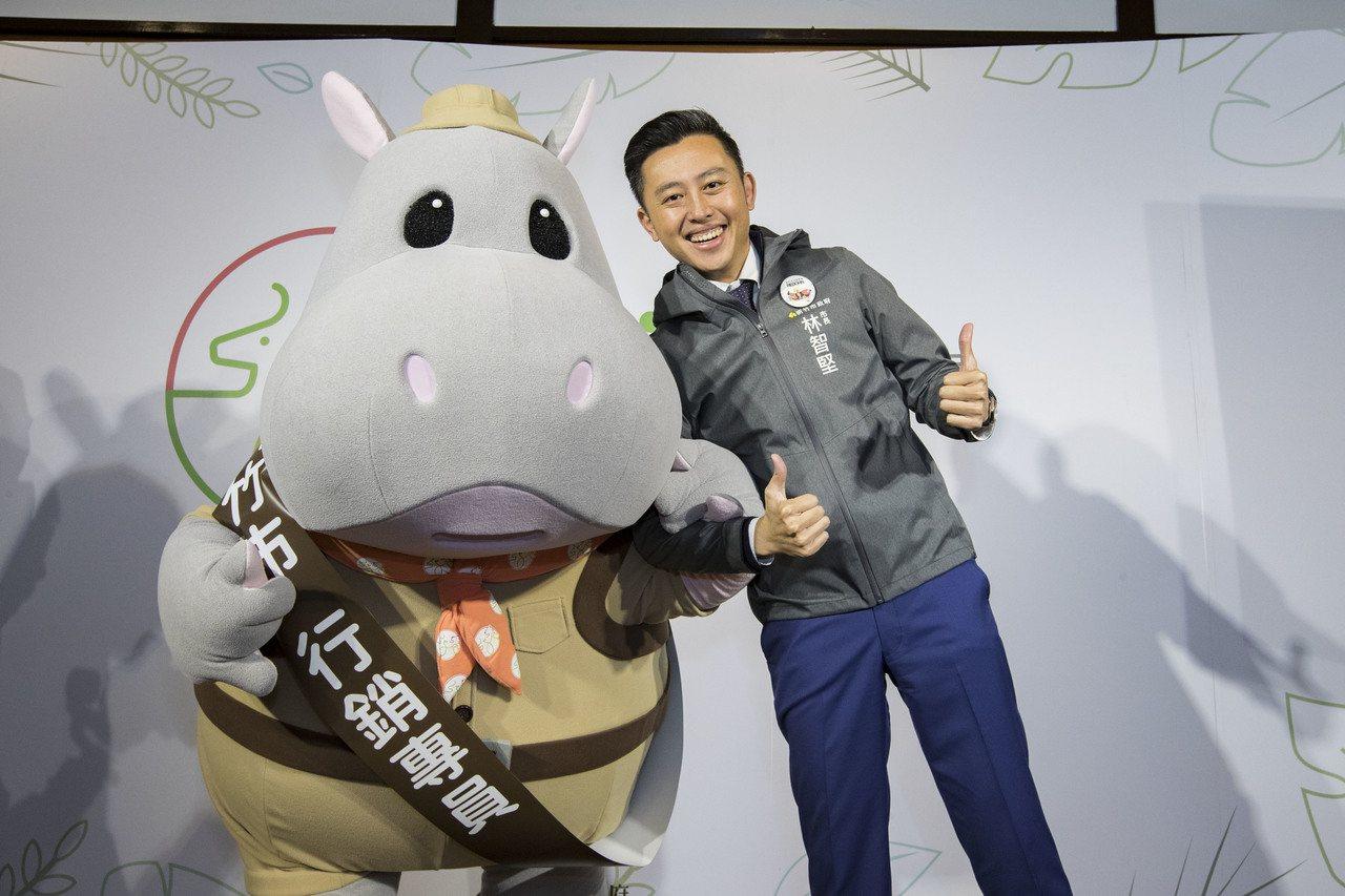 新竹市立動物園春節期間河馬樂樂行銷大使將陪遊客過年,分送金幣巧克力。圖/市府提供