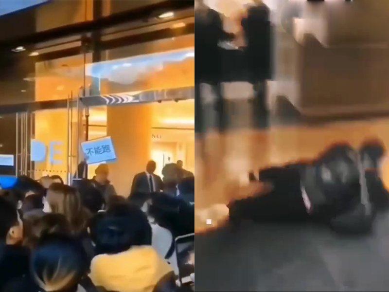 陸客爭相湧入巴黎老佛爺百貨,有人不慎跌倒,場面失控如「屍速列車」。影片截圖