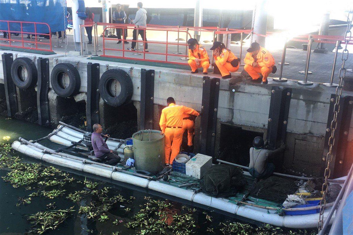 海巡署南部分署第5岸巡隊、客輪業者及漁民聯手下,順利將流至碼頭下方涵洞的落海犬隻...