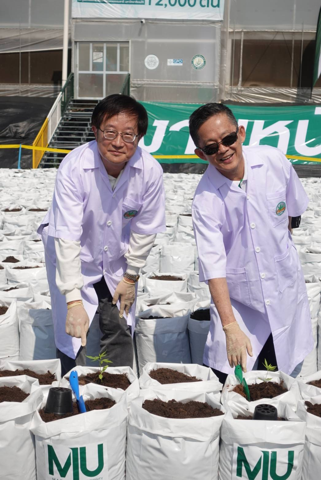 國立宜蘭大學校長吳柏青(左)率師生到泰國學術交流,獲邀參加湄洲大學大麻研發中心用...